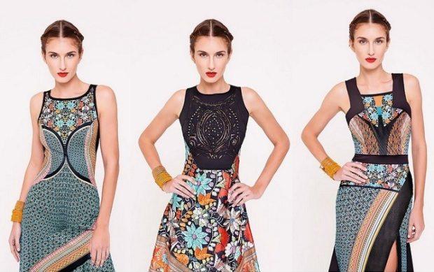 вечерние платья на Новый год 2020: с геометрическим рисунком без рукава по колено