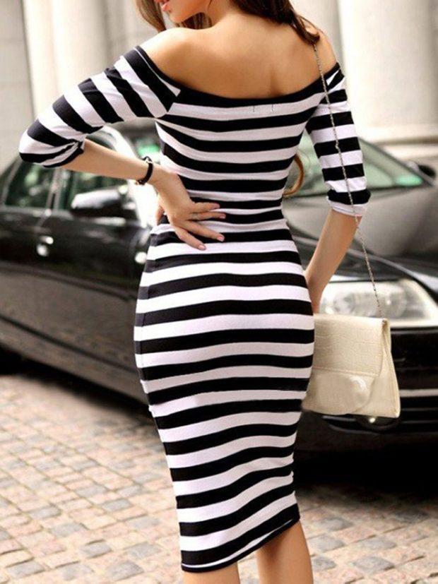 вечерние платья на Новый год: полосатое черно-белое