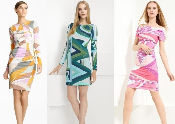 платья с геометрическим рисунком яркие с длинным рукавом