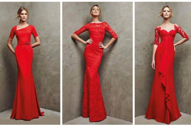 вечерние платья на Новый год 2020: красные макси по фигуре с декором и кружевом