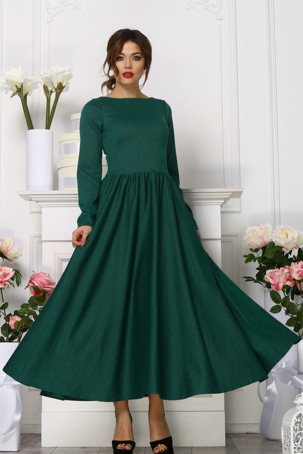 платье пышная юбка миди зеленое с длинным рукавом