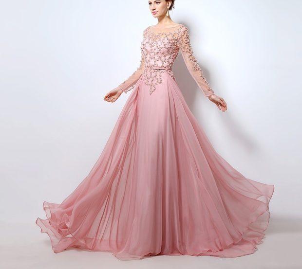 вечерние платья на Новый год: пышная юбка длинная шифоновая розовая