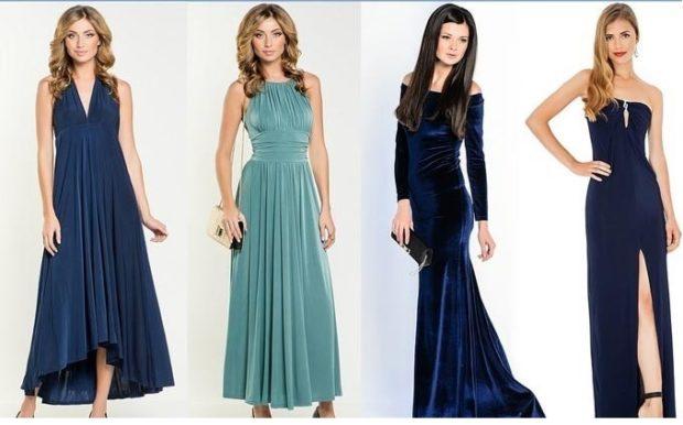 вечерние платья на Новый год 2020: синее бирюзовое со складками