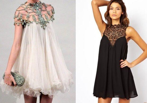 вечерние новогодние платья: трапеция белое с декором черное с узором