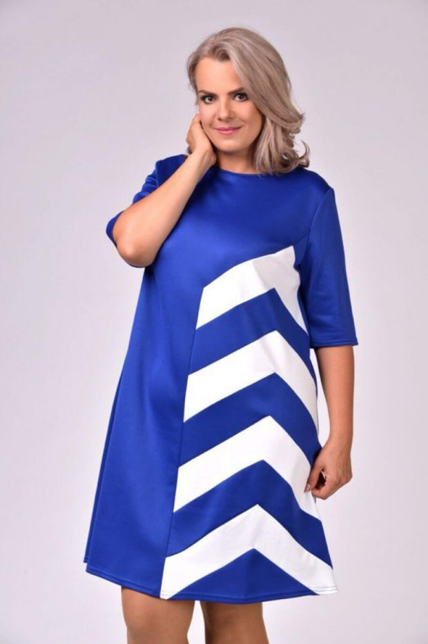 вечерние новогодние платья: трапеция синее с белым