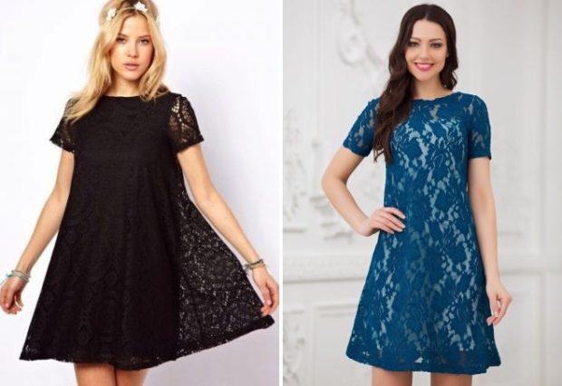 вечерние новогодние платья: трапеция черное кружевное синее кружевное