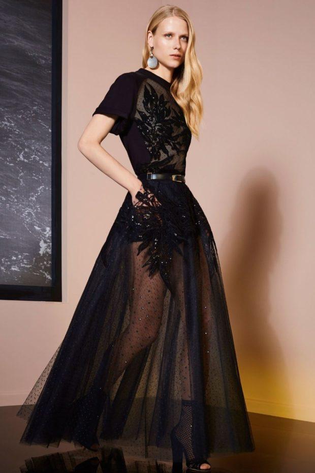 вечерние платья на Новый год 2020: макси пышная юбка прозрачная