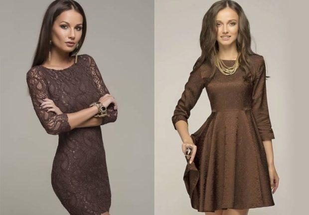 вечерние платья на Новый год 2020: коричневое кружевное