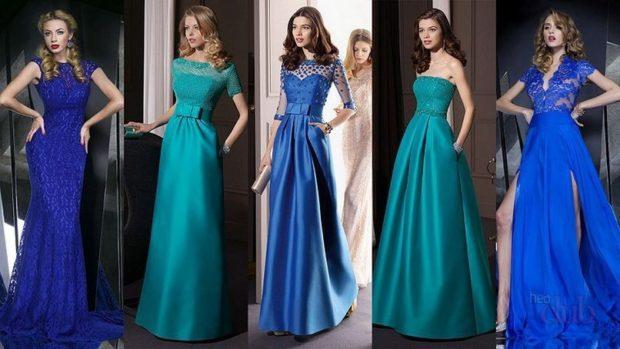 вечерние платья на Новый год 2020: макси синее по фигуре кружевное
