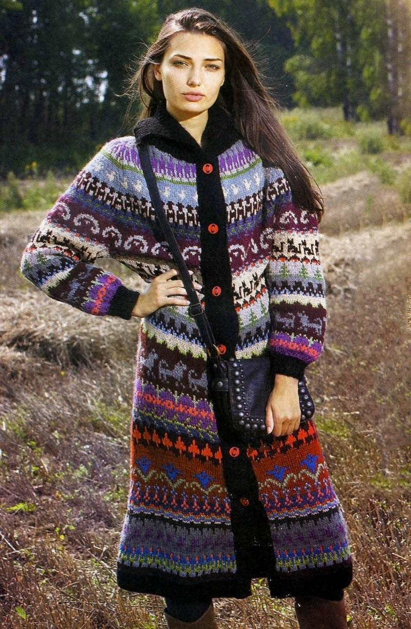 вязаное пальто цветное