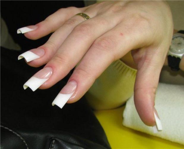 арочное наращивание ногтей френч гелем фото