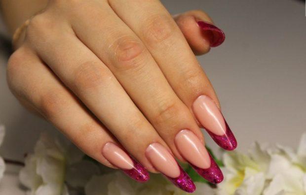 арочное наращивание ногтей френч розовый гелем фото