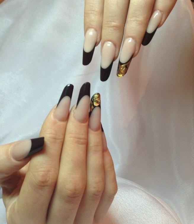 арочное наращивание ногтей гелем черный френч фото