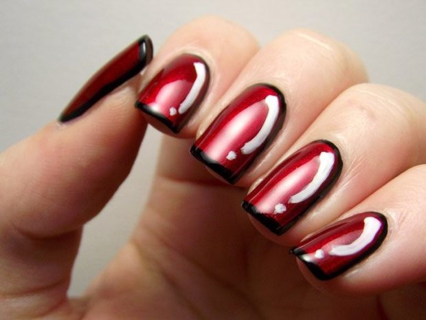 арочное наращивание ногтей гелем фото красное