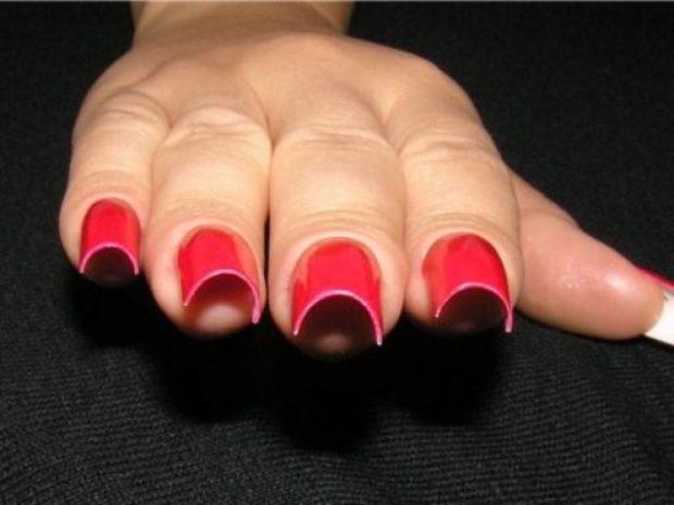 арочное наращивание ногтей красное гелем фото