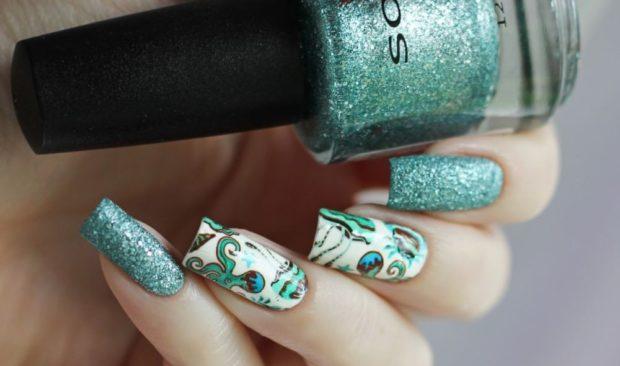 арочное наращивание ногтей гелем фото бирюзовый с рисунками