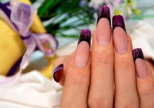 арочный маникюр фиолетовый френч фото