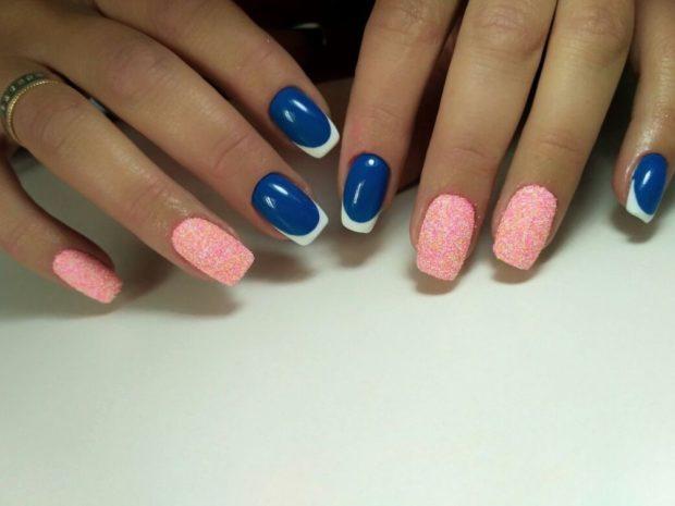 арочный маникюр синий с розовым фото моделирование