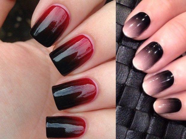 дизайн ногтей шеллак омбре черно-красное беж с черным