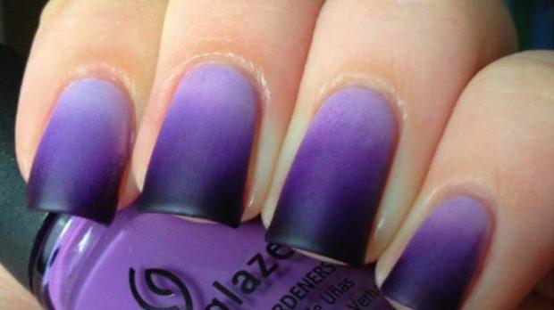 дизайн ногтей шеллак омбре черное с фиолетовым