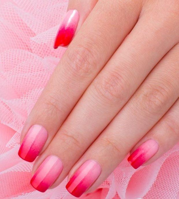 дизайн ногтей шеллак омбре розовое с красным