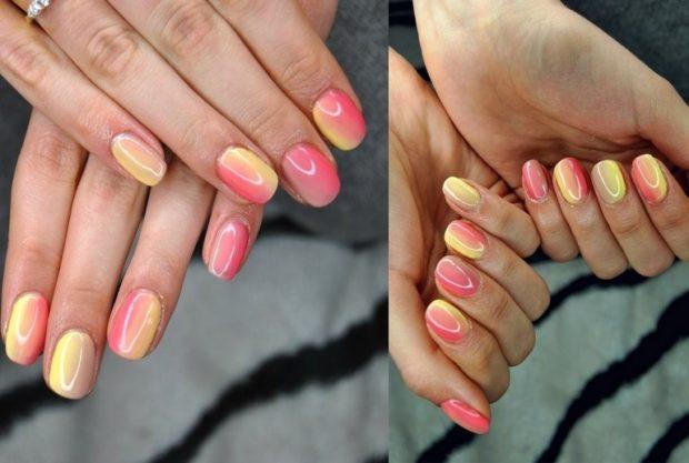 дизайн ногтей шеллак омбре желтое с розовым