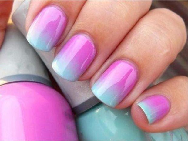 дизайн ногтей шеллак омбре розовый с бирюзовым