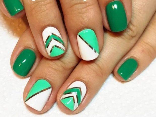 маникюр геометрия зеленый с белым шеллак