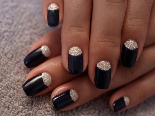 шеллак лунный маникюр черный с серебром дизайн ногтей