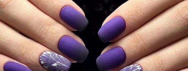 фиолетовый матовый маникюр шеллак