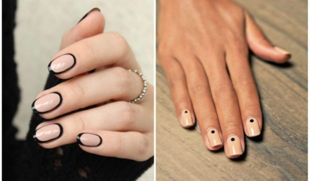 модный маникюр светлый с черным шеллак 2018