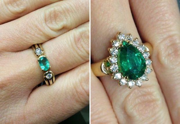 на каких пальцах носят кольца женщины: с зелеными камнями