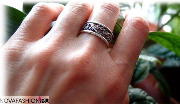 кольцо на средний палец серебро ажурное