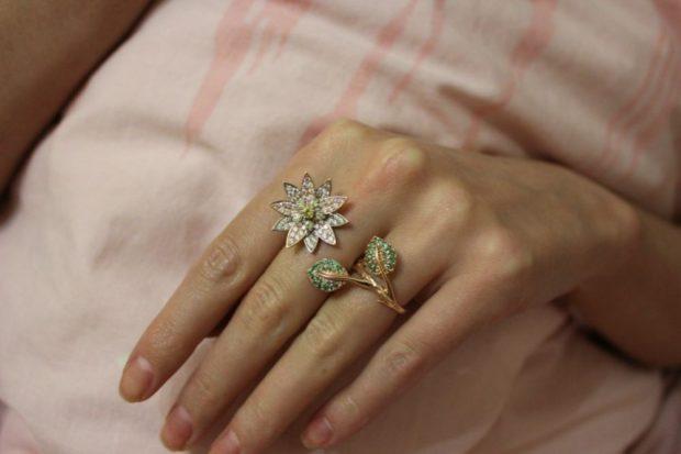кольцо в цветок на два пальца