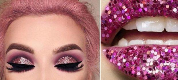 глиттер на глаза и губы розовый