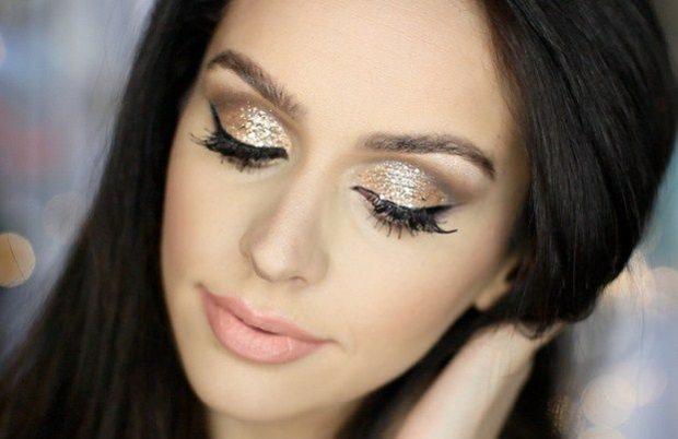 макияж с блестками вечерний