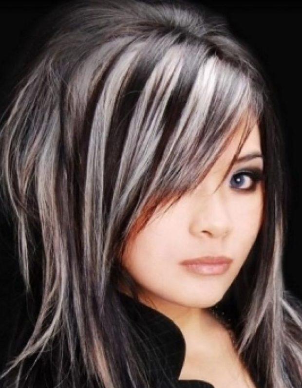 мелирование 2020-2021 на темные волосы