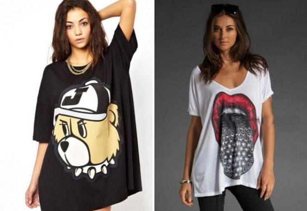 футболки 2019: оверсайз черная с медведем белая с рисунком