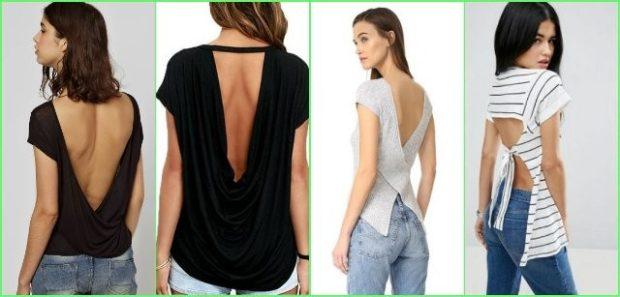 футболки 2019 женские фото: с открытой спиной черная серая в полоску