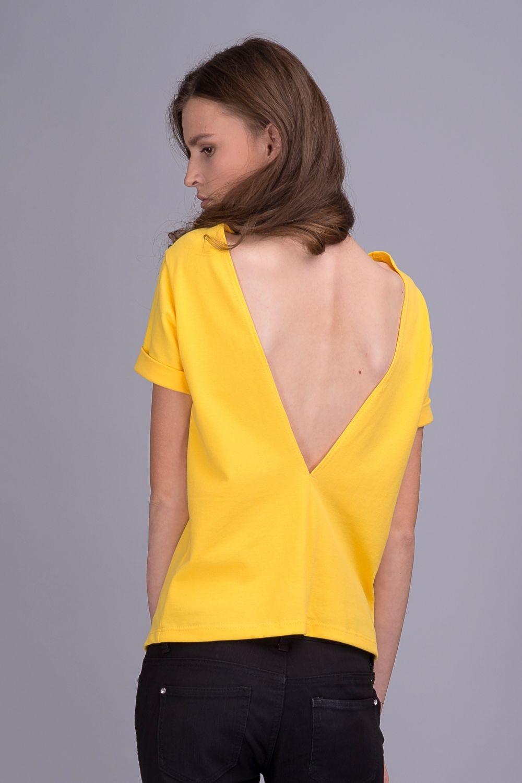 футболки 2019 женские фото: с открытой спиной желтая