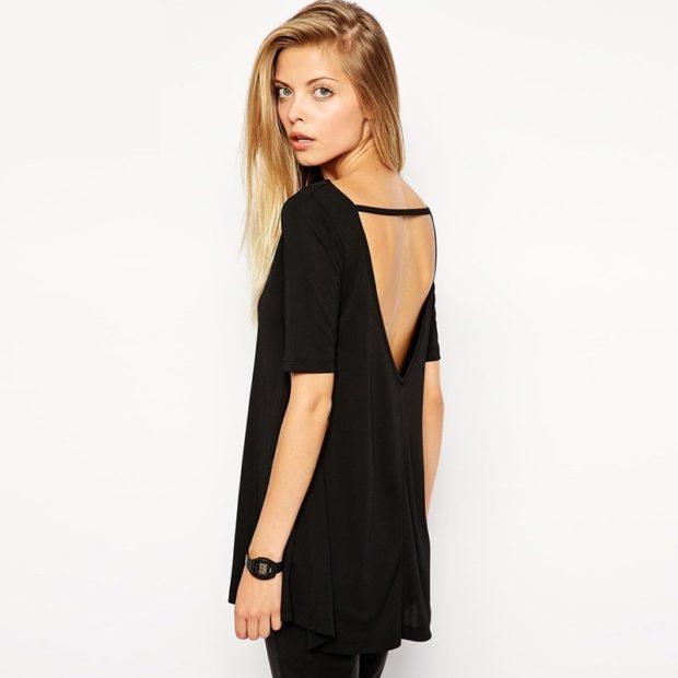 футболки 2019 женские фото: с открытой спиной черная