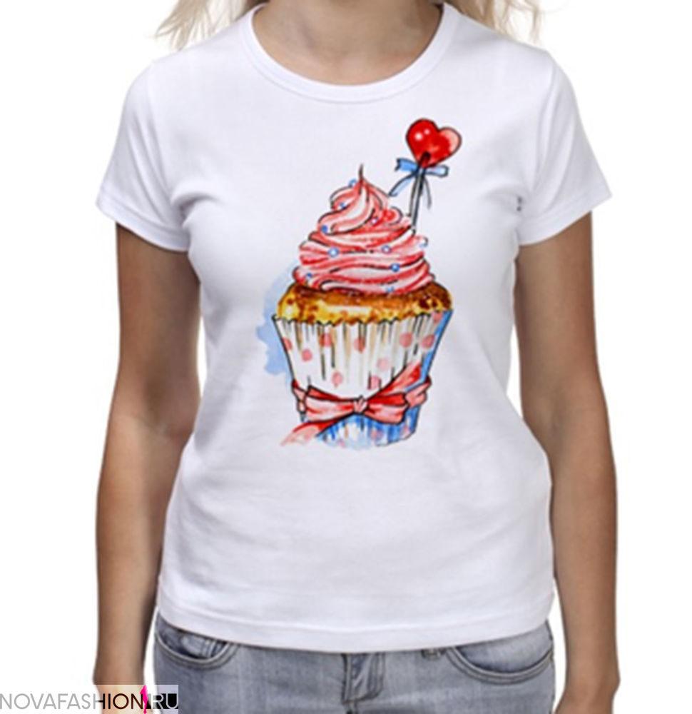 принт на футболку 2019: белая пироженко
