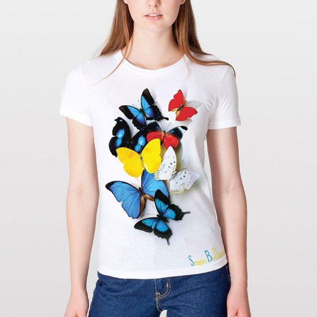 футболки с принтом 2019: белая бабочки