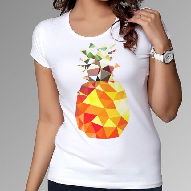 футболки с принтом 2019: белая с ананасом