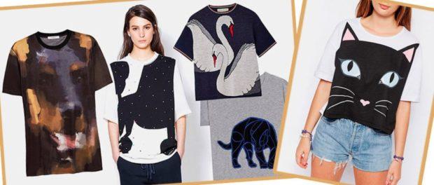 футболки с принтом 2019: животных