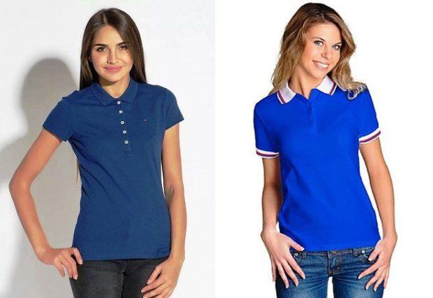 модные футболки 2019 фото: поло синяя голубая с белым воротником