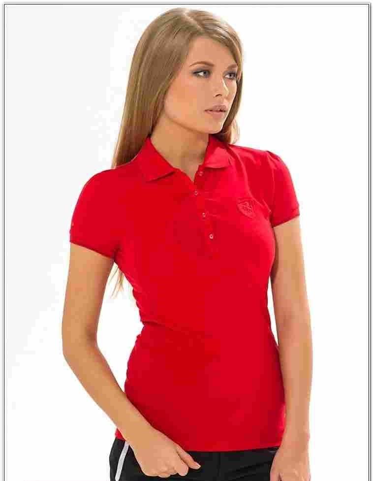 модные футболки 2019 фото: поло красная