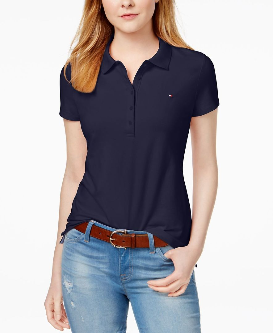 модные футболки 2019 фото: поло темно-синяя