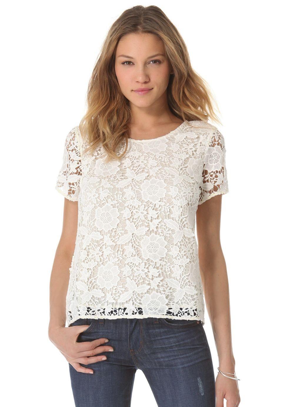 футболки лето 2019 женские: белая ажурная