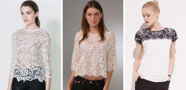 футболки лето 2019 женские: ажурные белые белая с черным